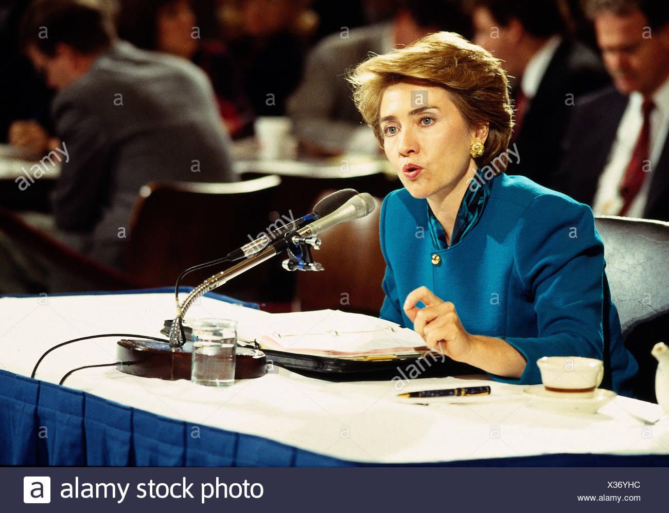 Clinton, Hillary, * 26.10.1947, US-amerikanischer Politiker (Demokraten), First Lady 1993-2001, Porträt, während einer Konferenz, Anfang der 1990er Jahre, U Stockbild