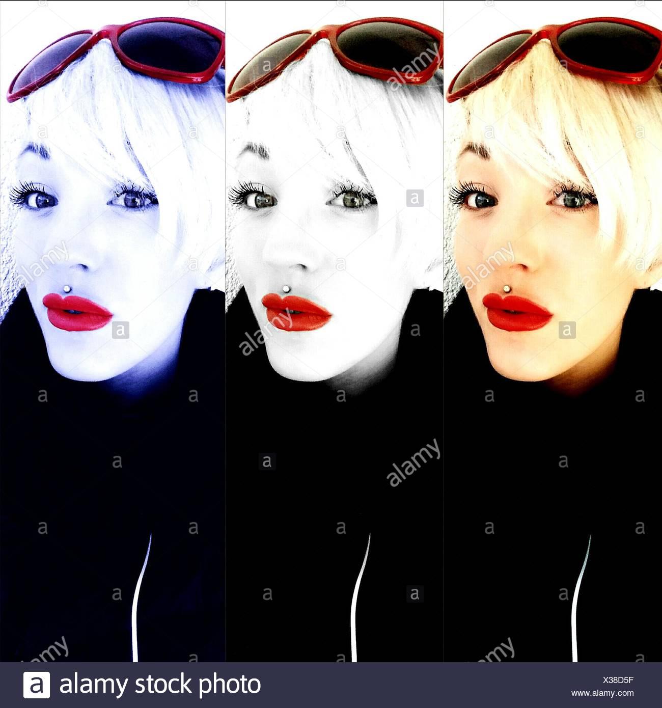 Mehrere Bild der schönen Frau mit rotem Lippenstift vor weißem Hintergrund Stockfoto