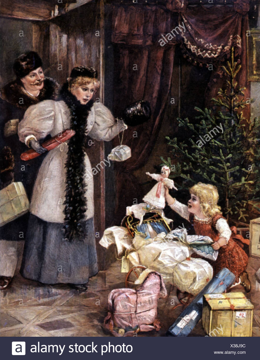 Weihnachten Geschenkverteilung Eltern Fangen Ihre Kinder Beim Auspacken Geschenke Farbige Holzgravur 19 Jahrhundert Zusatzliche Rechte Clearenzen Nicht Verfugbar Stockfotografie Alamy