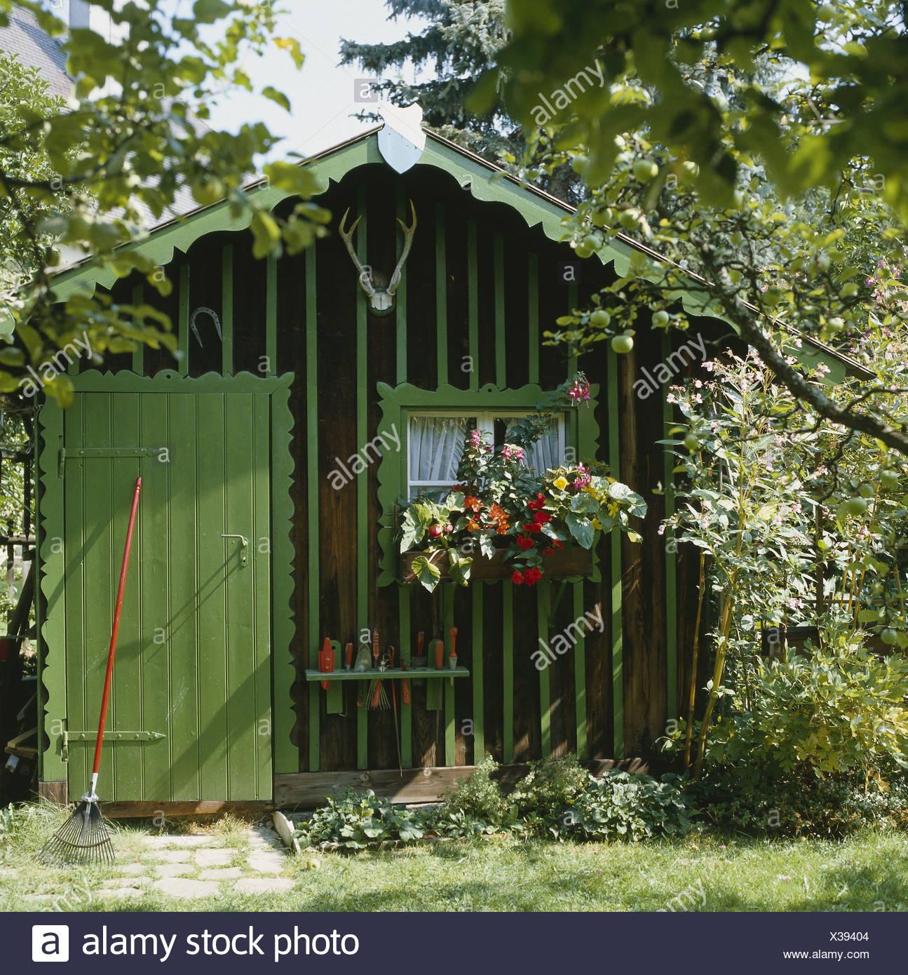 kleine gartenhäuser, grün, ebene, sommer, gerät skalen, obstbaum