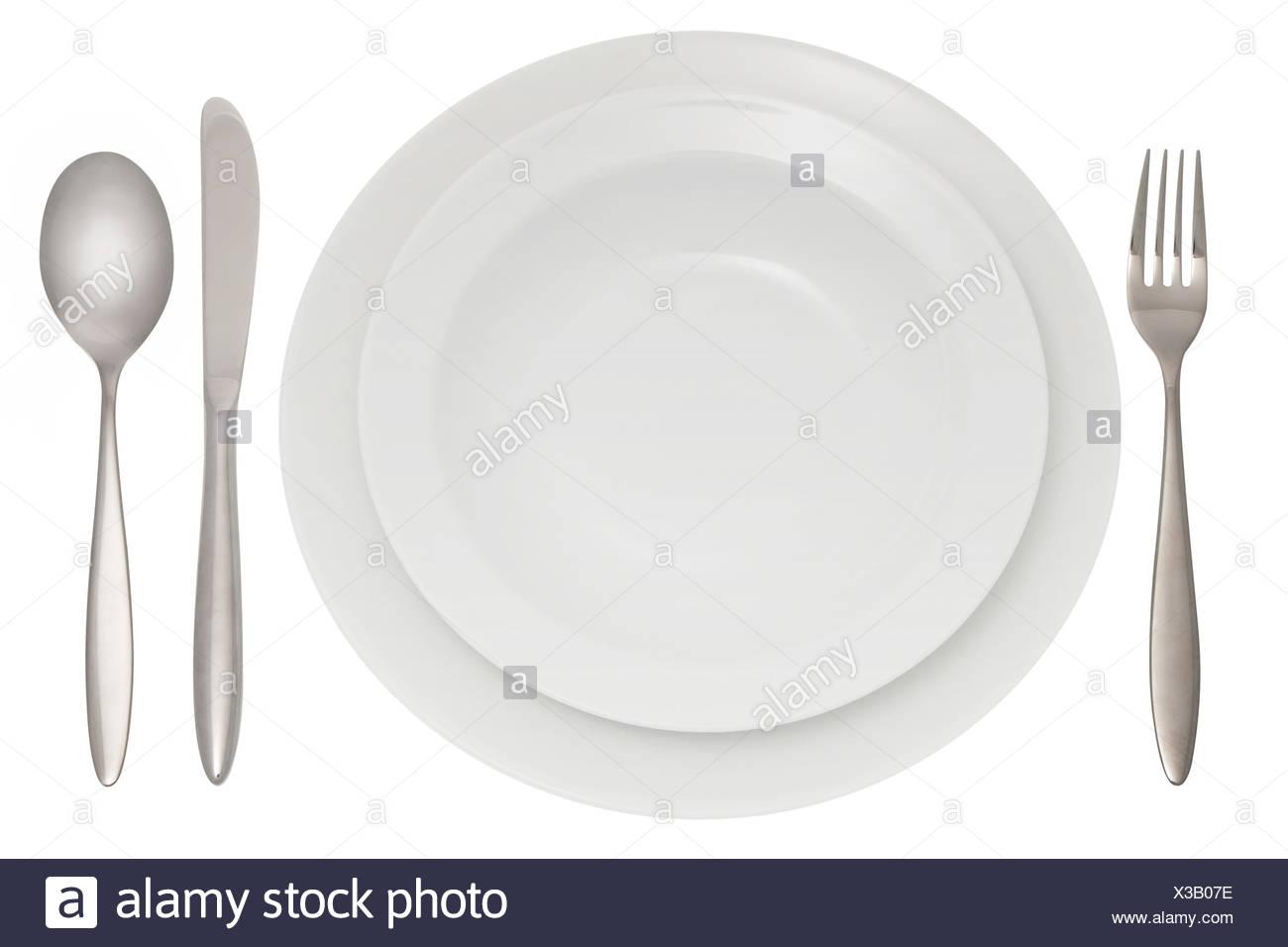 Legen Sie Einstellungen Besteck Tisch Decken Stockfoto Bild