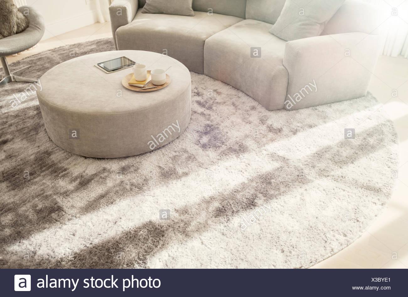 Runder Teppich unter geschwungenen Sofa und Ottomane im ...
