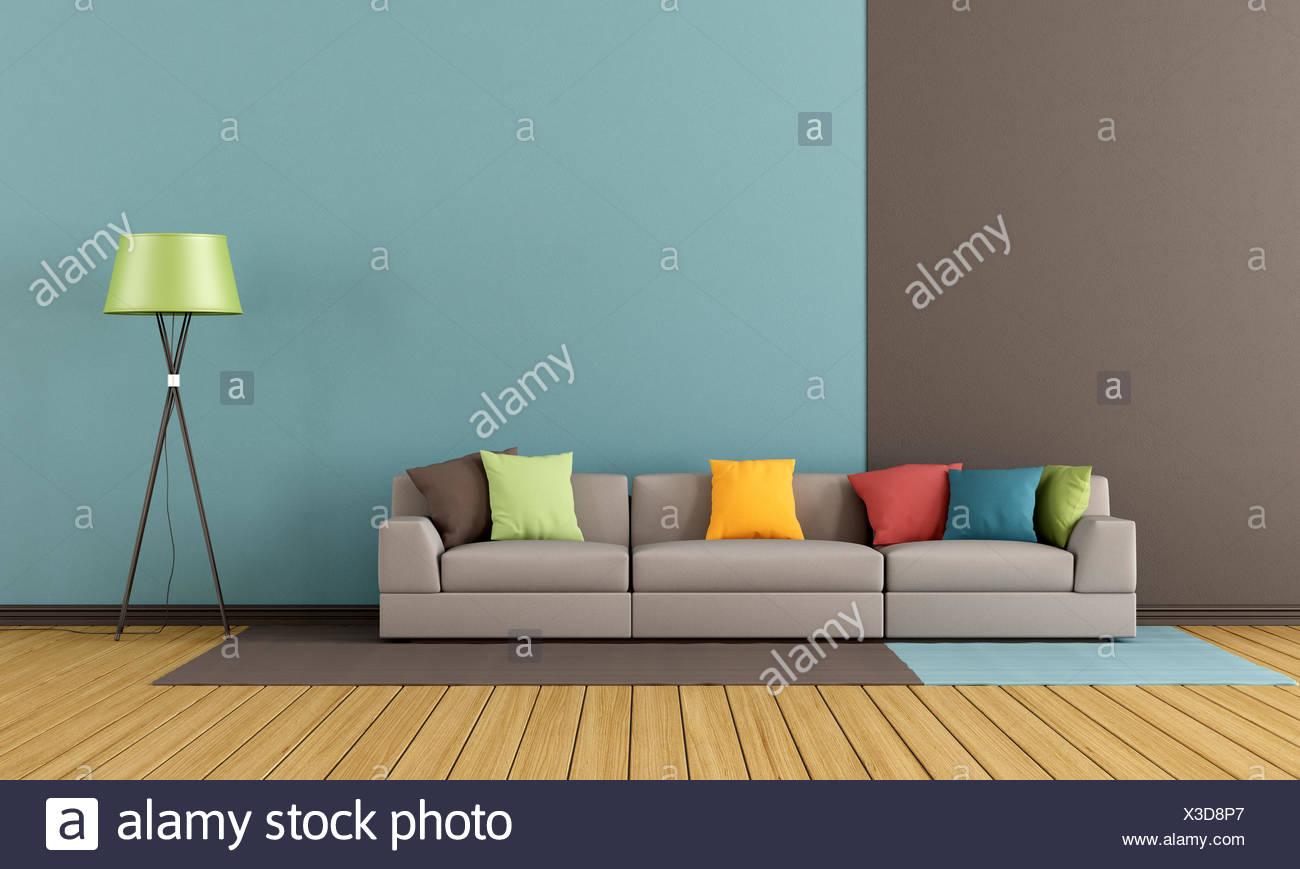 Moderne Lounge mit bunten Sofa - Rendering Stockfoto, Bild ...