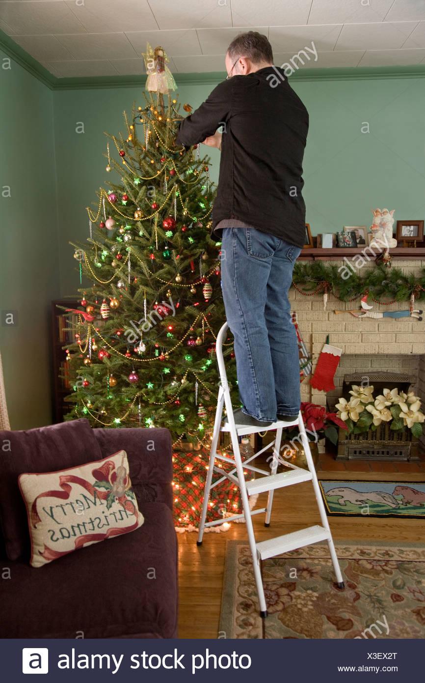 mann auf einer leiter schm cken den weihnachtsbaum. Black Bedroom Furniture Sets. Home Design Ideas