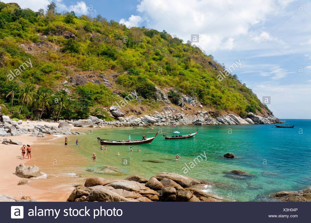 847dcac79add8c Long-Tail-Boote ankern in der Bucht von Nui Beach Phuket Island Southern  Thailand Südostasien