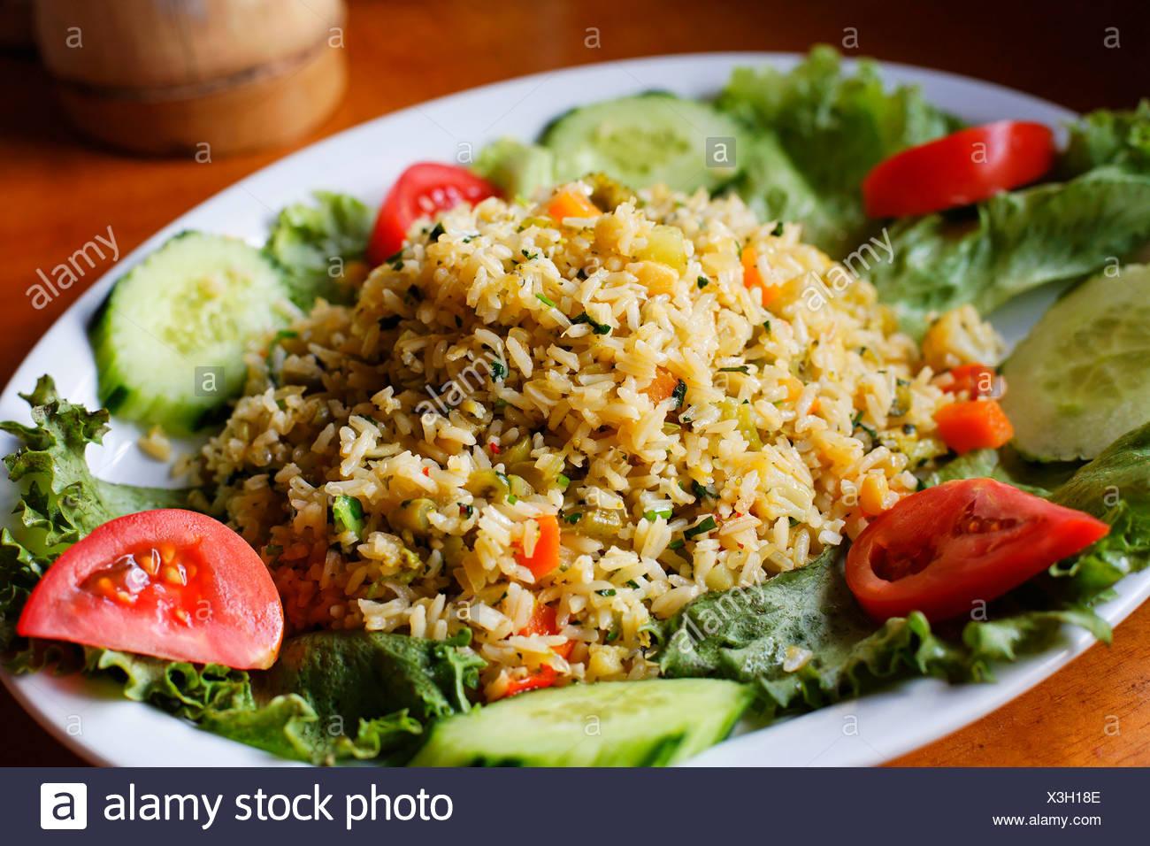 Costa Rica, typische Reis essen auf Teller Stockbild