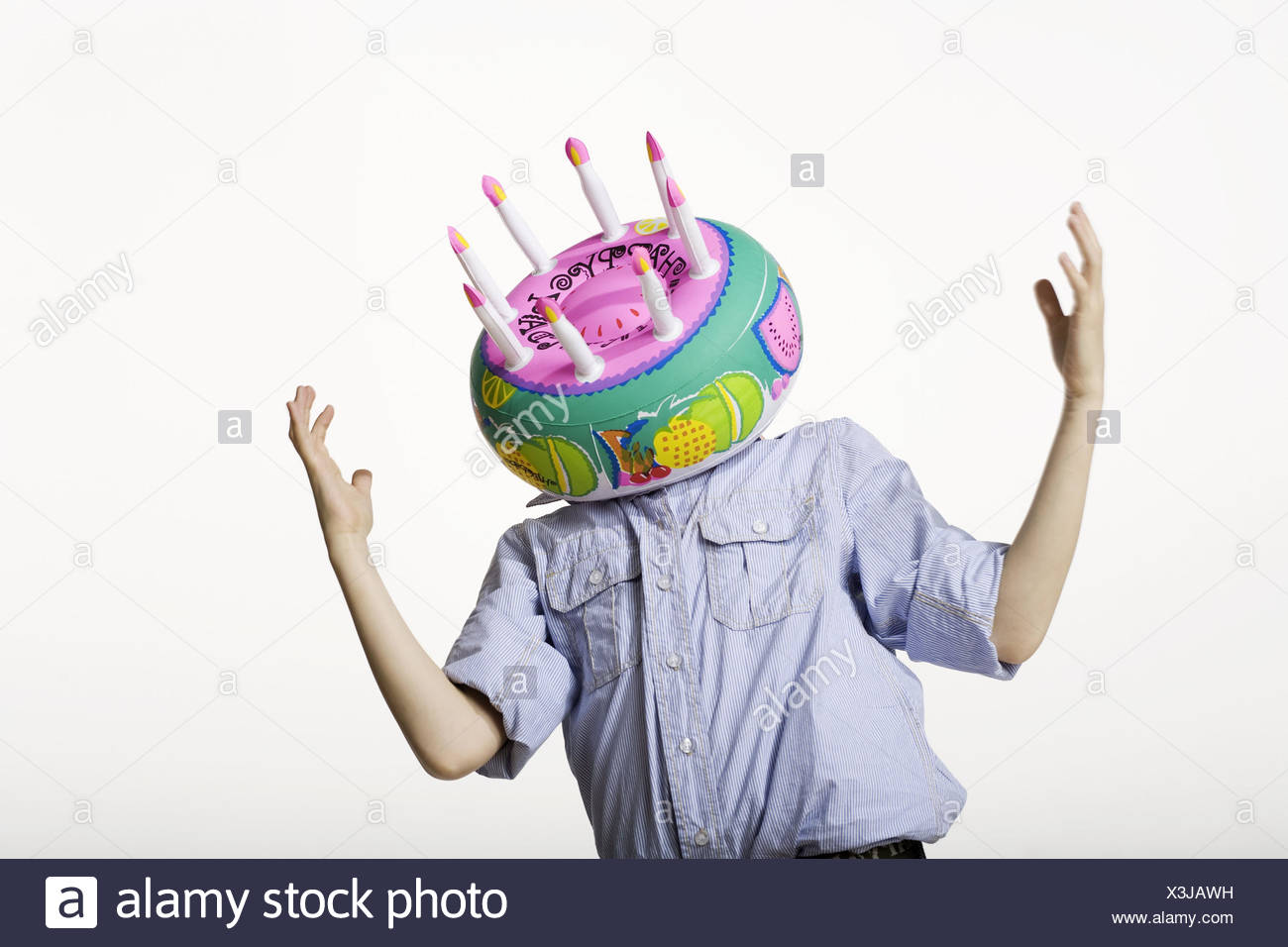 Stehend Geste Kopf Geburtstagstorte Aufblasbare Semi Portrait