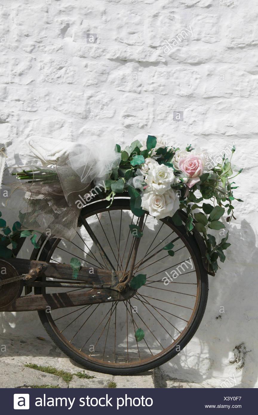 """Fahrrad, Alt, Detail, Blumenschmuck, Hausmauer, Mauer, Angelehnt, Rad, Rostig, Verrostet, Blumen, Rosen, Künstlich, Geschmückt, Dekoriert, Konzept, """"Hochzeitsrad"""" Stockbild"""