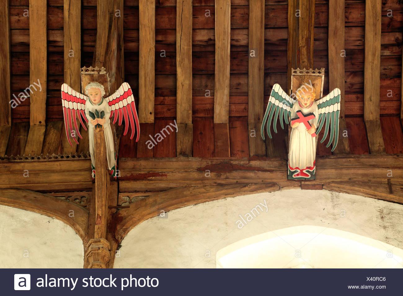 South Creake Kirche, mittelalterliche Hammerbalken Dach, hammer Engel Engel, Norfolk, England, Dächer Beam Balken Stockbild