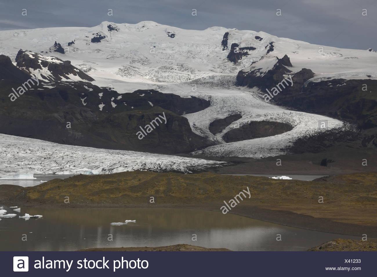 Hrútárjökull - einer der Outlet-Gletscher (Gletscherzungen) der Vatnajökull-Eiskappe, die größten Eiskappen (Glacie ist Stockbild
