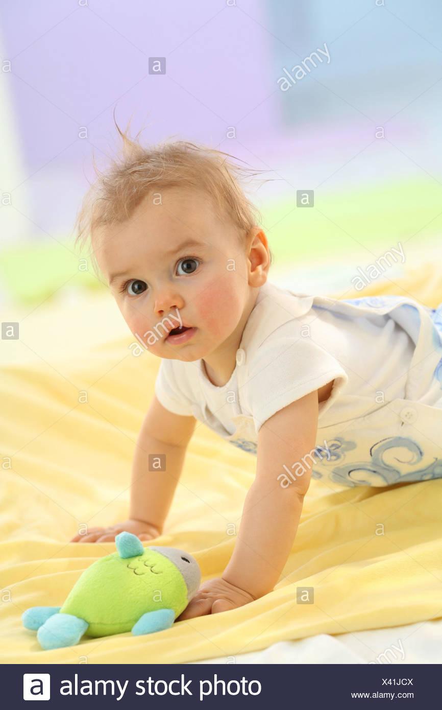 Baby, 5 Monate, Porträt, Hinzufügen von Unterstützung, Stockfoto