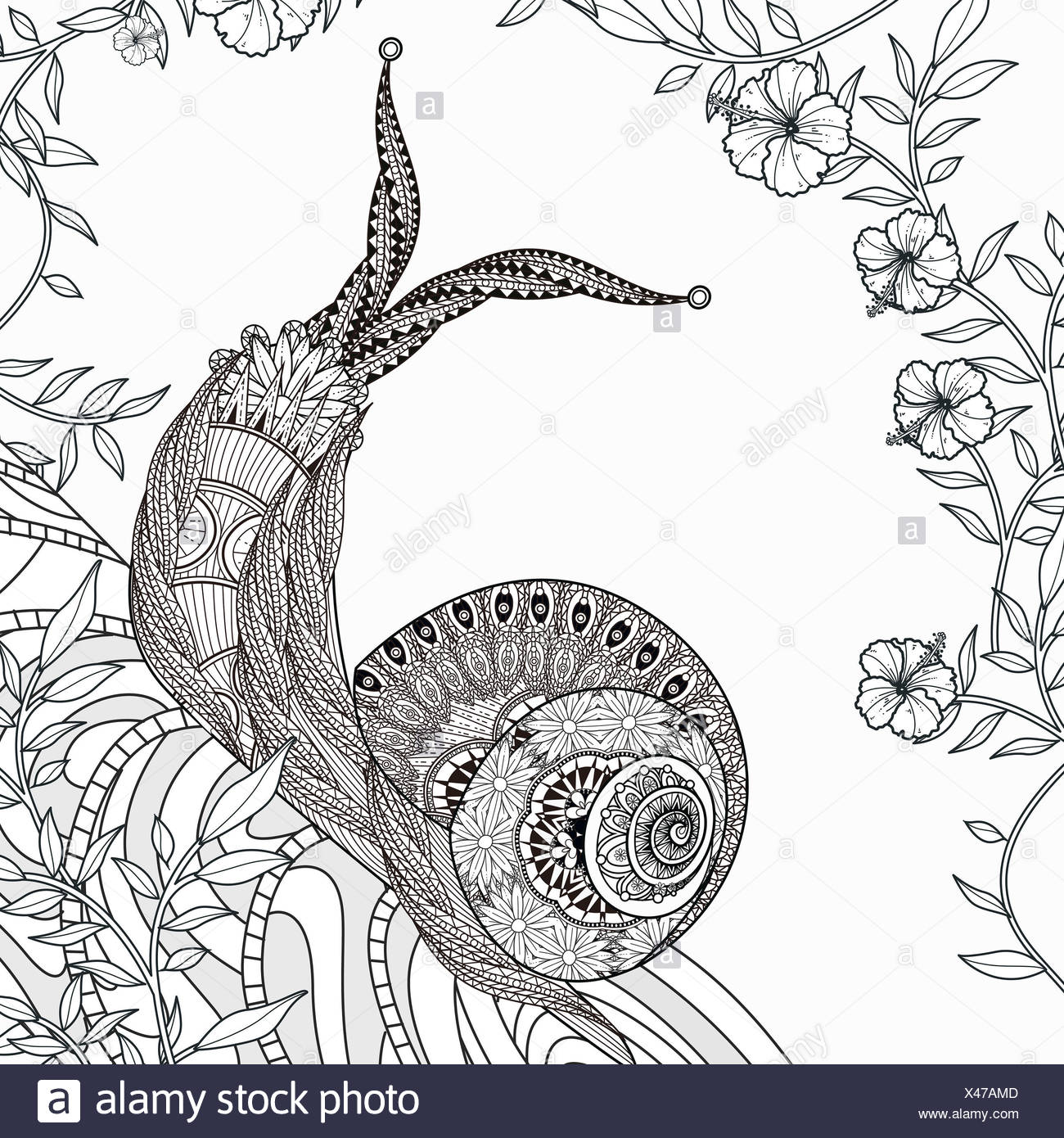Vector Spiral Doodle Illustration Coloring Stockfotos & Vector ...