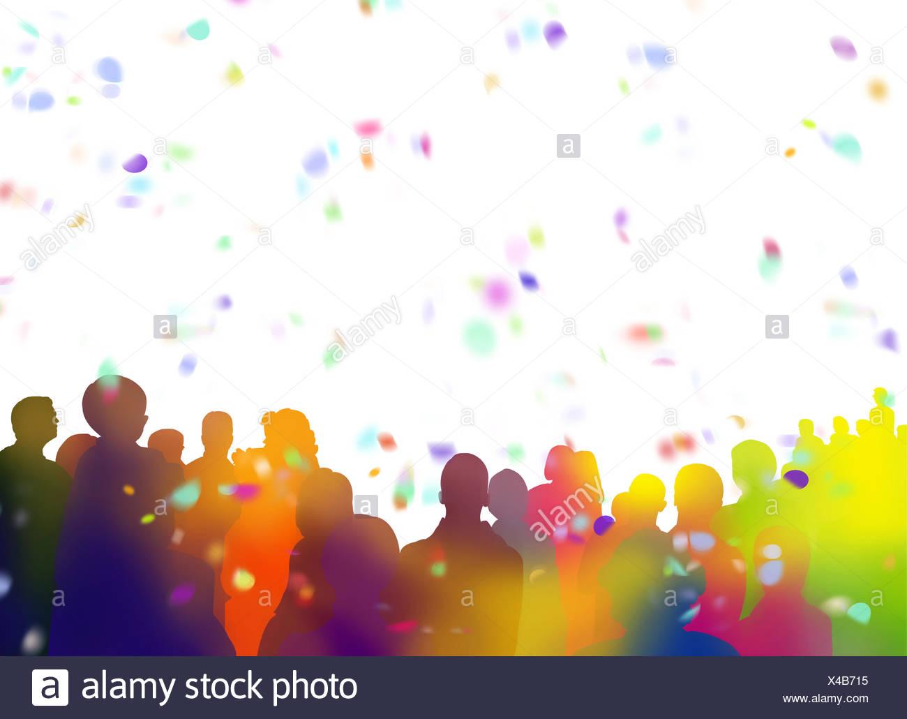 Zuschauer Silhouetten und Konfetti auf weißem Hintergrund Stockbild