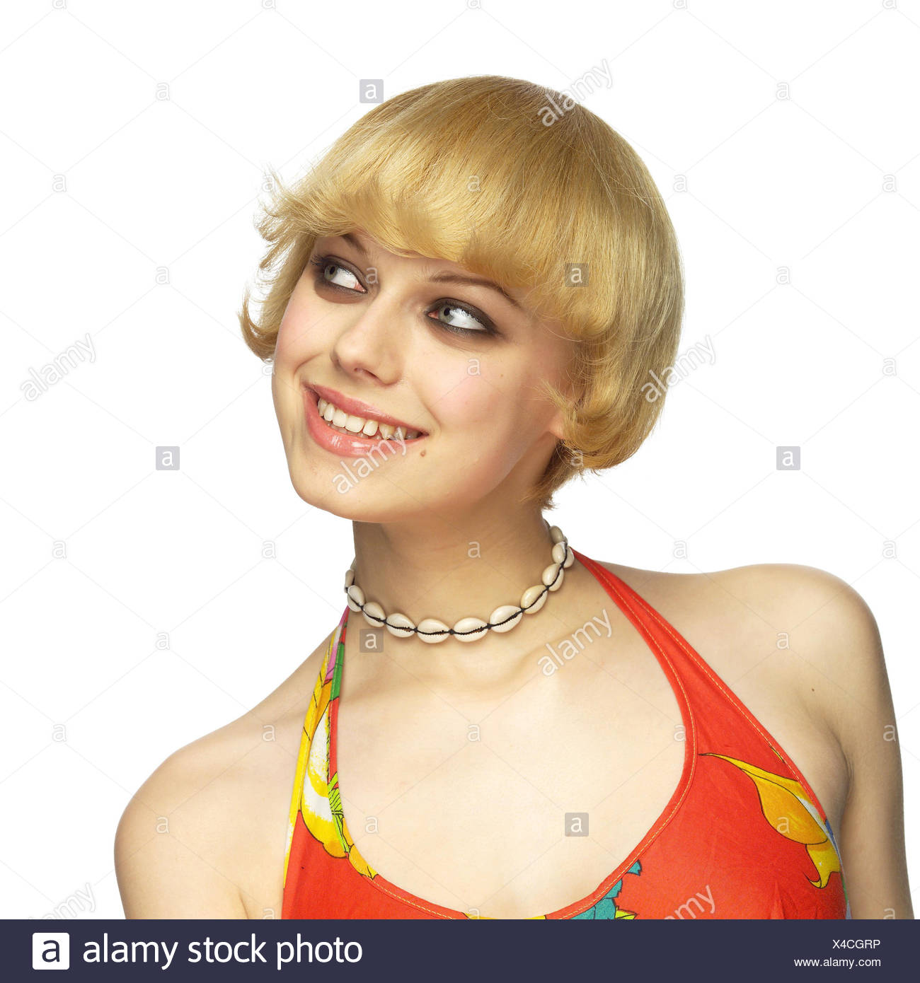 Frau Lächeln Jung Blond Seitenansicht Porträt Frauen