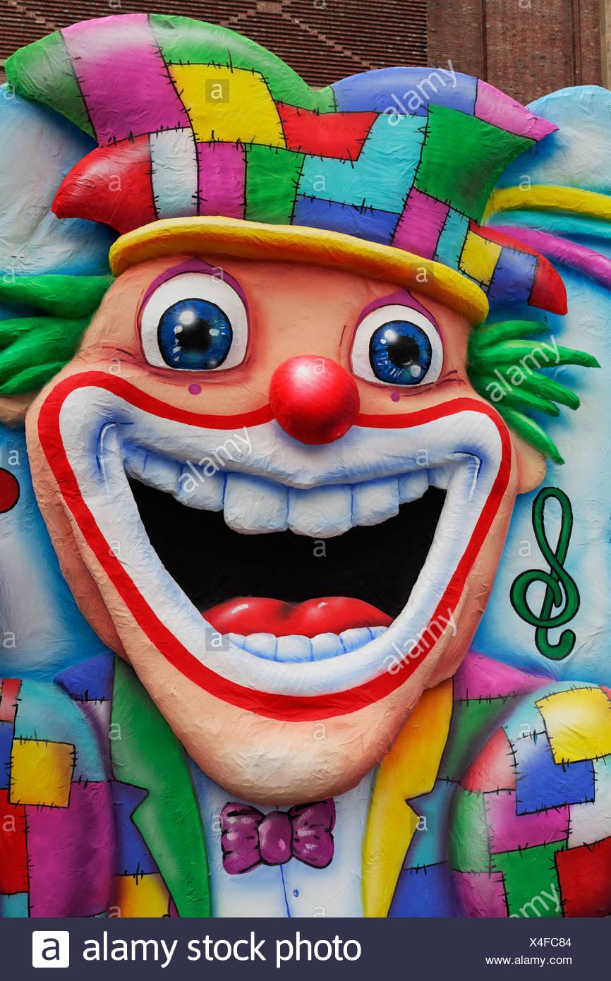 Lachend Clown Gesicht gemacht, Pappmaché, Karneval, Düsseldorf, Nordrhein-Westfalen, Deutschland Stockbild