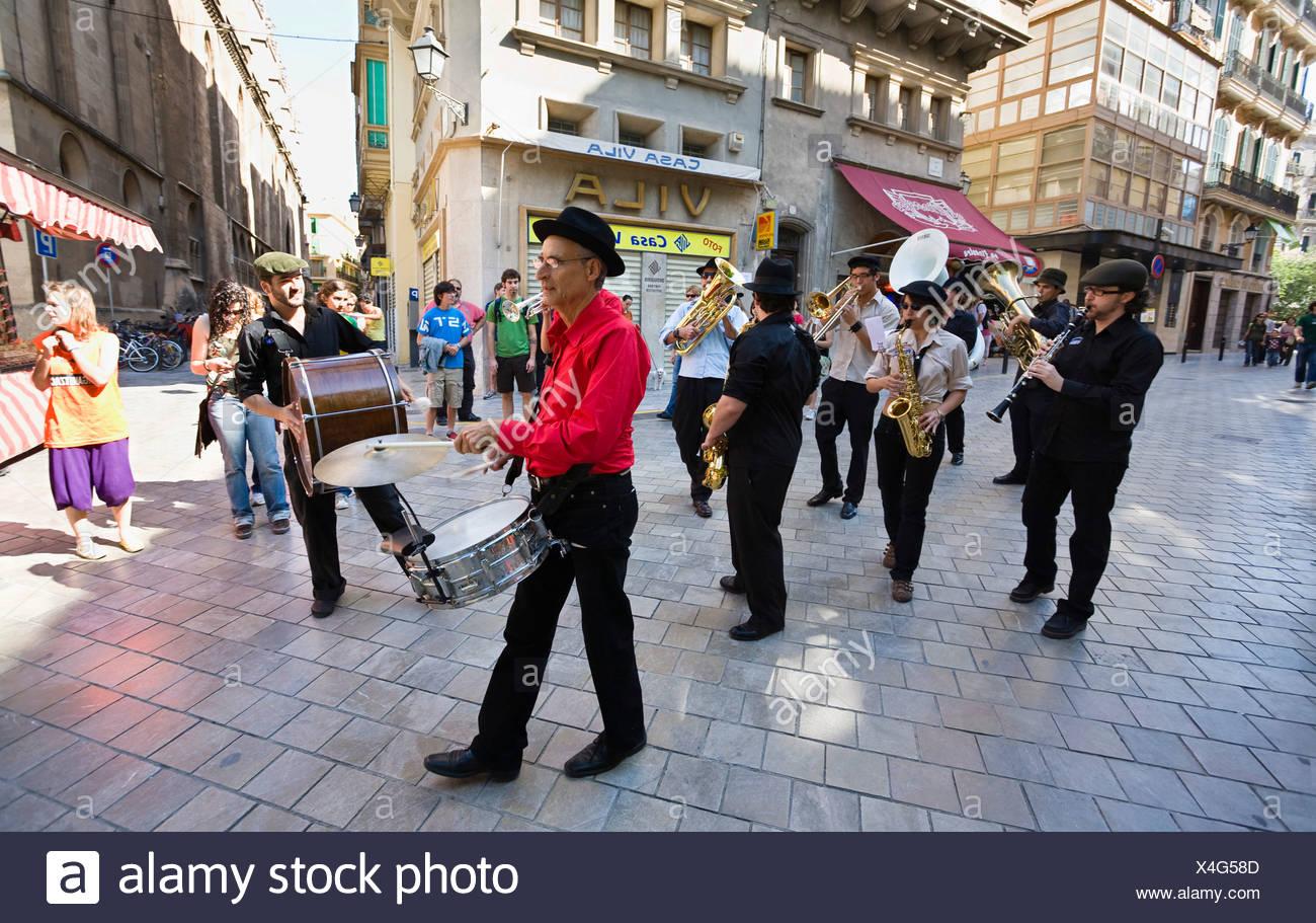 Band in den Straßen von Palma, Mallorca, Mallorca, Spanien, Europa Stockbild