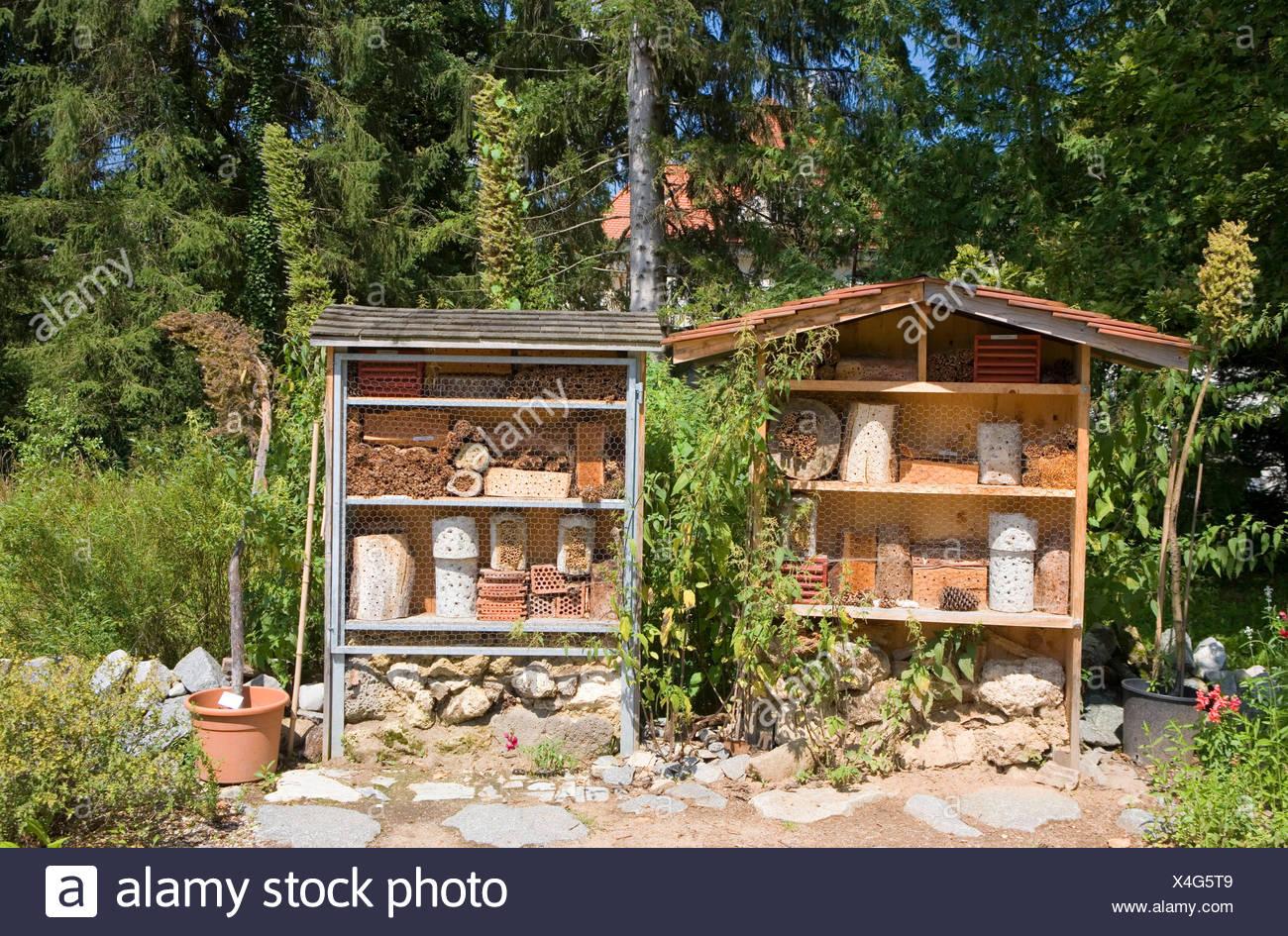 Botanischer Garten München-nymphenburg (Botanischer Garten), Insekt hotel für vorteilhafte Organismus wie Wildbienen, Schmetterlinge, Marienkäfer Stockbild