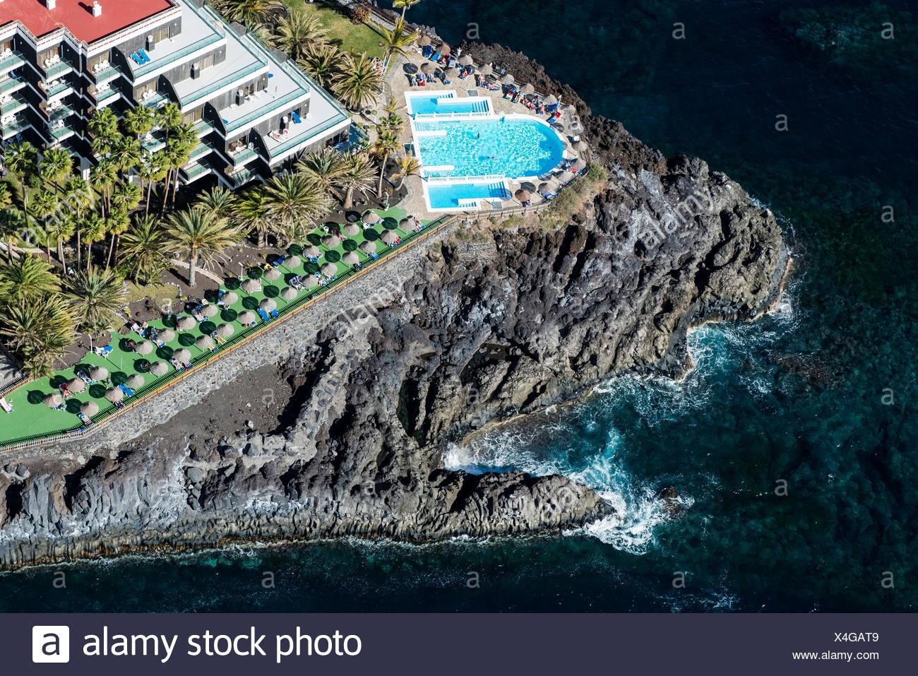Pool hotel sol puerto de naos atlantikk ste vulkan k ste luftbild insel la palma kanaren - Hotel sol puerto naos ...