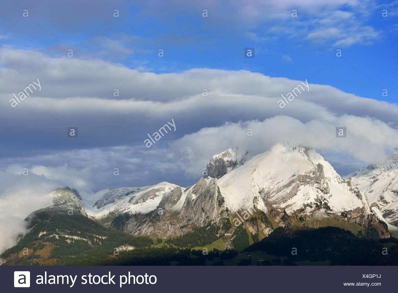 Schnee-Berge, Säntis Schweiz Stockbild