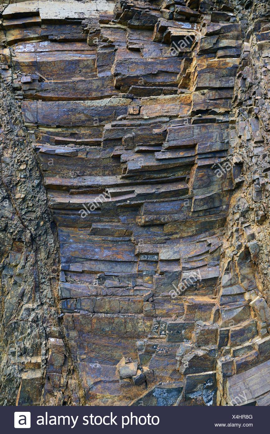 Vulkanisch Entstandene Schichten von Basaltgestein, Bergdorf Masca, Teno Gebirge, Teneriffa, Kanarische Inseln, Spanien Stockbild
