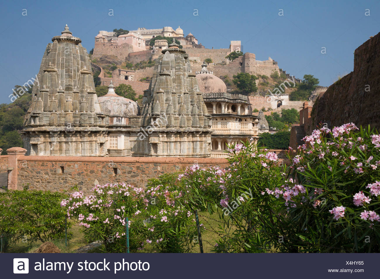 Fort, Kumbhalgarh, Rajasthan, Wand, gerahmt, Asien, Indien, Stockbild