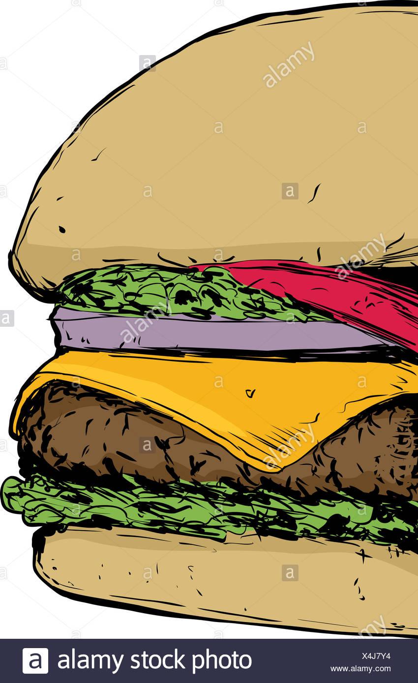 Nahaufnahme auf Cheeseburger Stockbild
