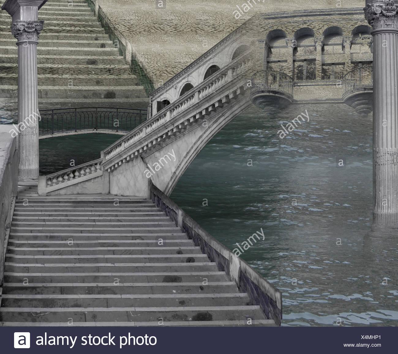 Treppen, Stein, Brücke, Silber, Fantasie, Marmor, magisch ...