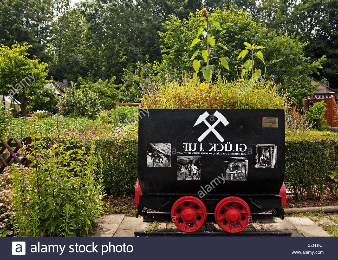 Kohlen Lore in den Kleingärten Bochum, Deutschland. Stockbild