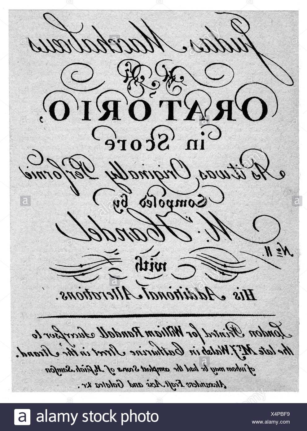 """Händel, Georg Friedrich, 23.2.1685 - 14.4.1759, Deutscher Komponist, Werke, Oratorium """"Judas Maccabaeus"""", (1747), Titel, Additional-Rights-Spiel-NA Stockbild"""