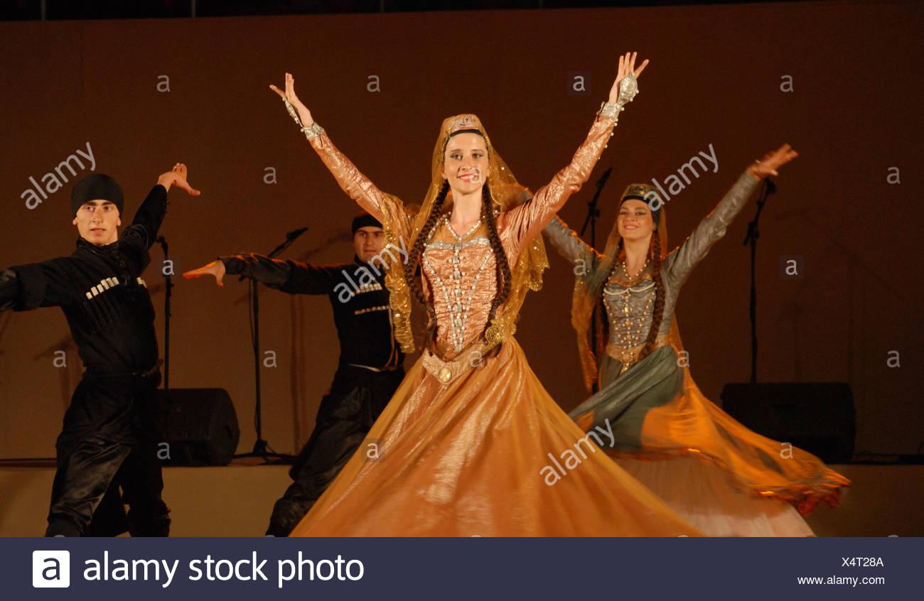 Georgische Folklore-Tanzgruppe Stockbild