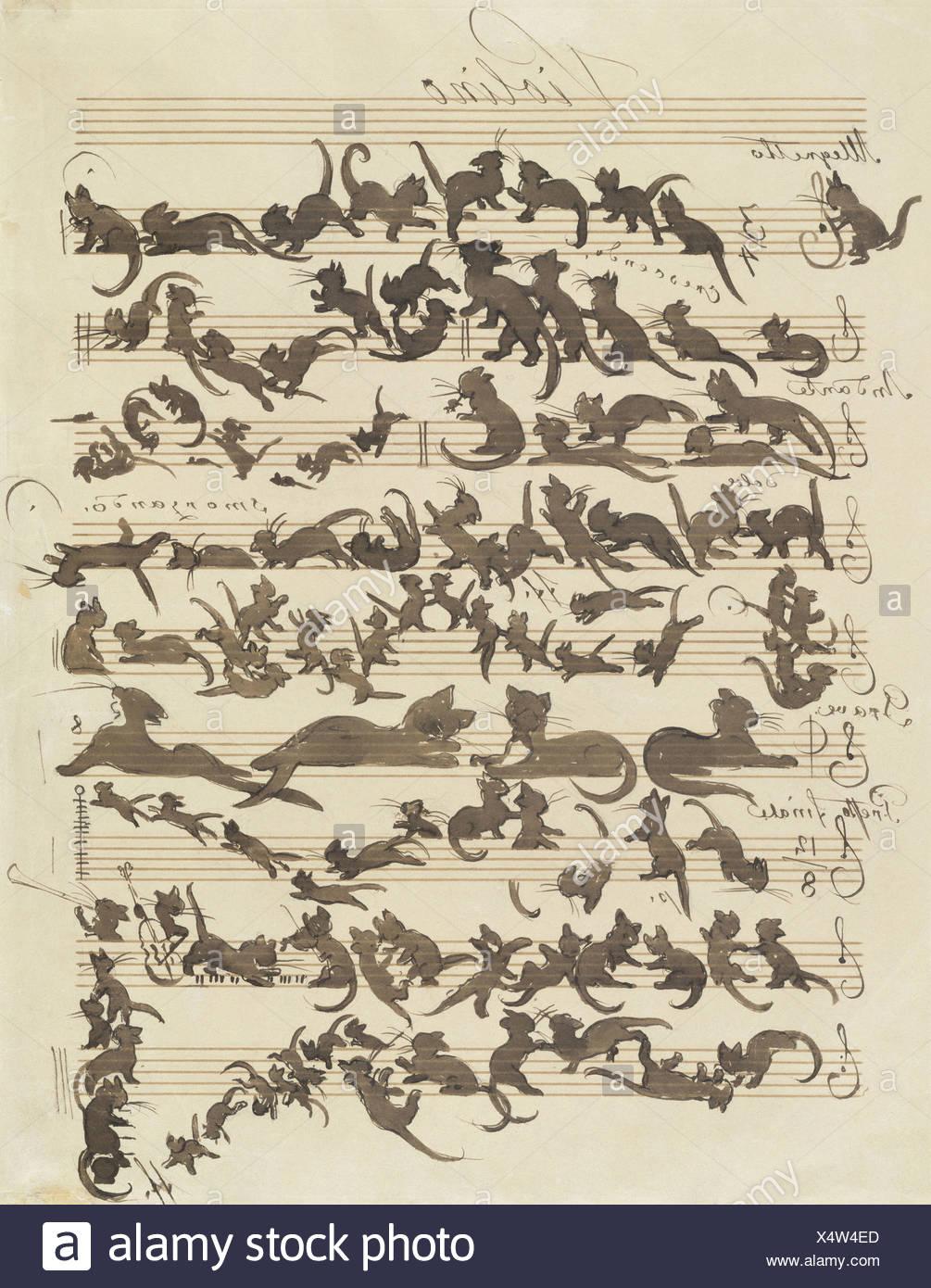 """ÜF, Kunst, Schwind, Moritz von (1804-1871), Grafik, """"Sterben Katzensymphonie"""" (""""Le Chat Noir""""), Altersspuren, Feder Und Pinsel Über Stockbild"""