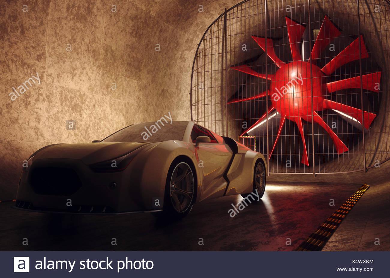 Sportwagen im Windkanal, Abbildung. Stockbild