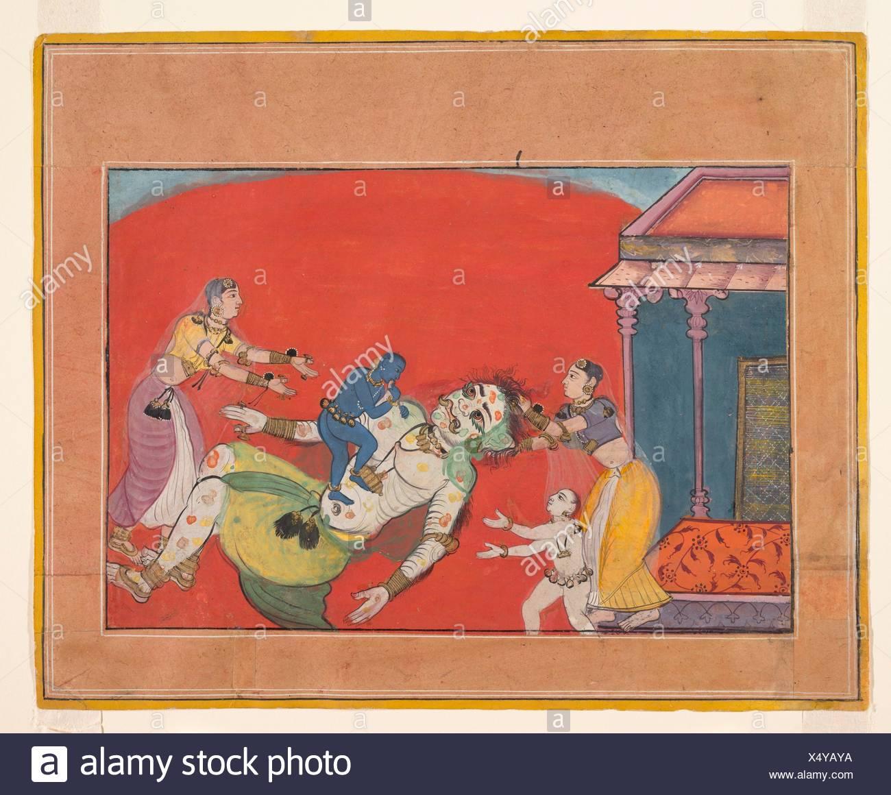 Der Tod der Dämonin Putana: Folio aus einem Bhagavata Purana Serie. Datum: Ca. 1610; Kultur: Indien, Rajasthan, Bikaner; Medium: Undurchsichtig Stockbild