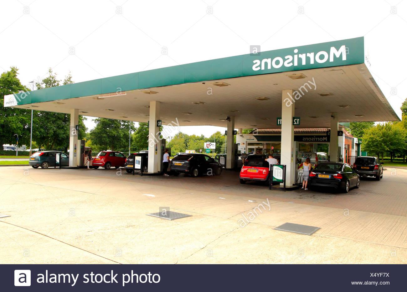 Morrisons, Benzin, Diesel, Tankstelle, Supermarkt, Fakenham, Norfolk, England, Großbritannien Stockbild