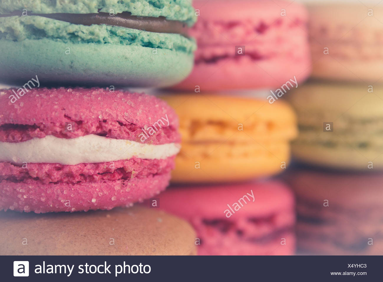 farbige Macarons Vintage-Stil Farben Stockbild