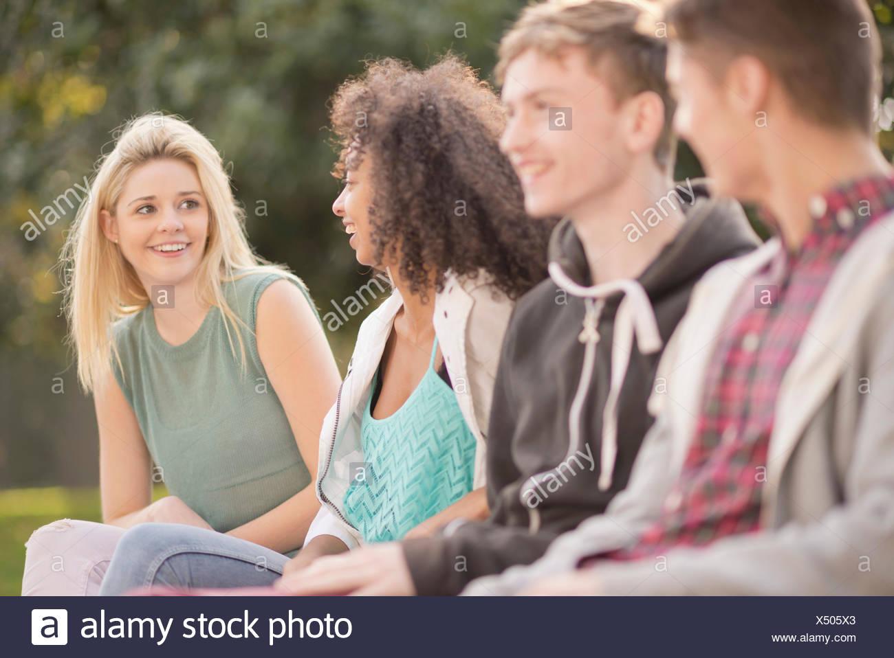 Vier junge Erwachsene Freunde reden im park Stockbild