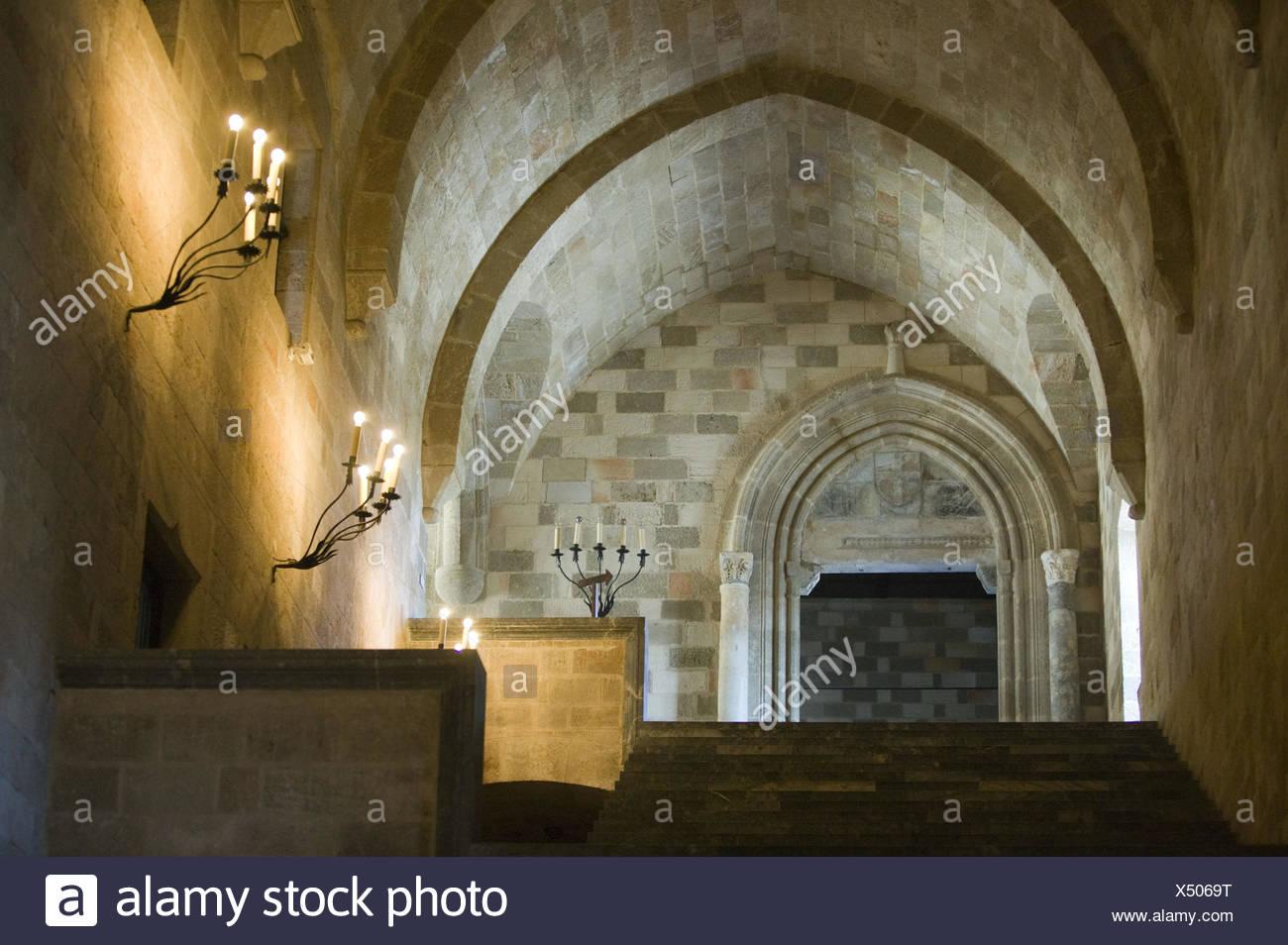 Griechenland, Rhodos, Rhodos-Stadt, Großmeisterpalast, Innen, Bande, Gewölbe, Stockbild