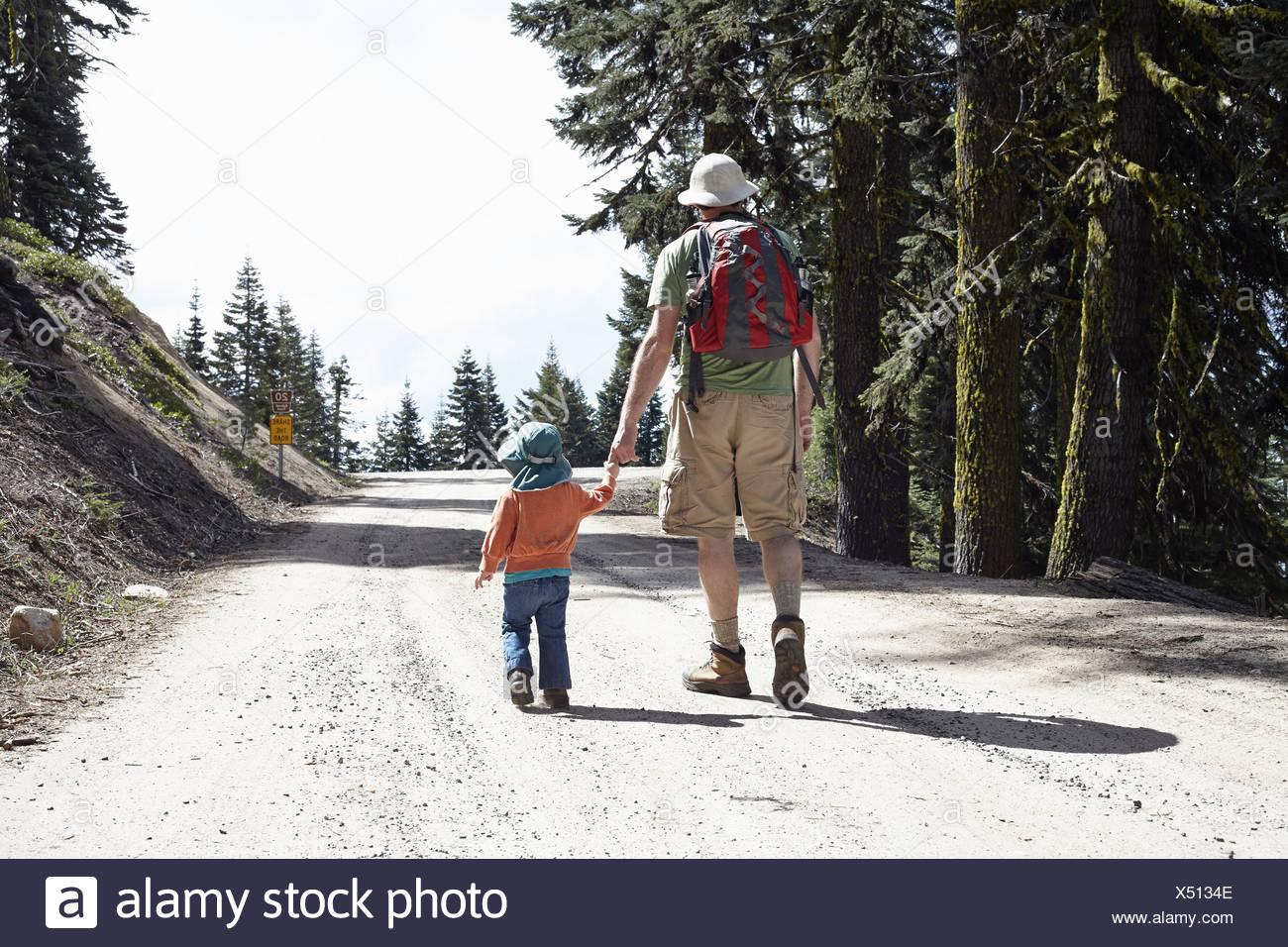 Rückansicht von Vater und Tochter, Hand in Hand zu Fuß durch Wald in Oregon, USA Stockbild