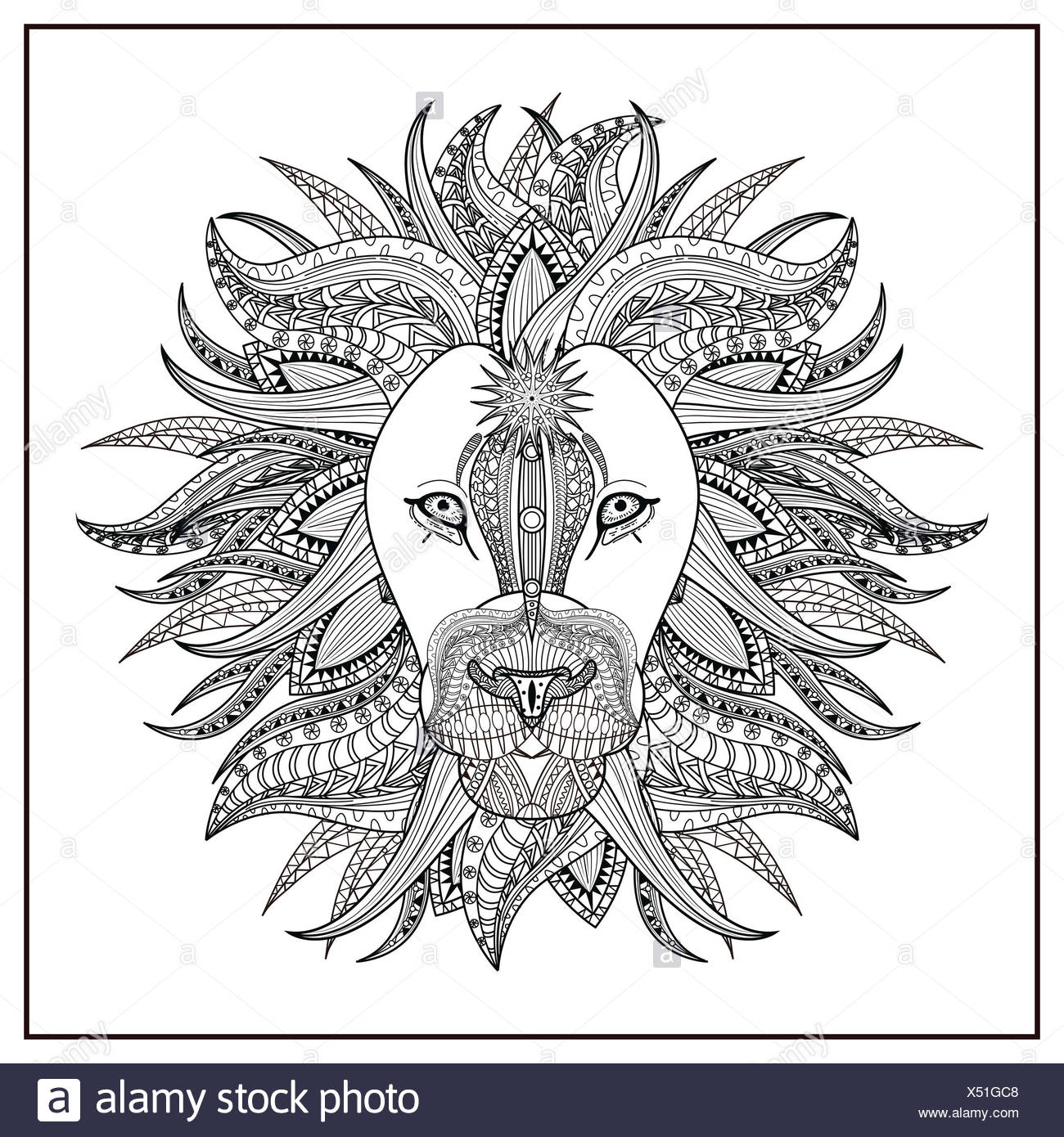 Outline Lion Head Animal Vector Stockfotos & Outline Lion Head ...