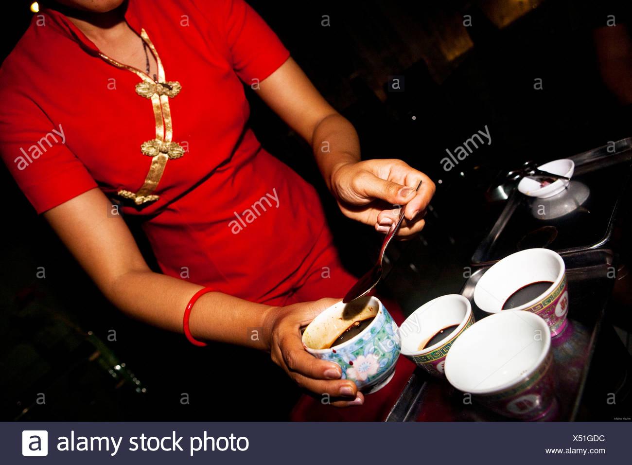 Schlange-Blut zu trinken, ist ein altes chinesisches Heilmittel gedacht, um viele Krankheiten zu heilen. Es ist beliebt in Indonesien und eine beliebte Mischung Stockbild