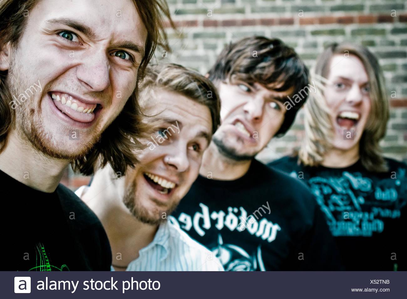 Freundschaft, Jugendkultur, Rocker, Musik-band Stockbild