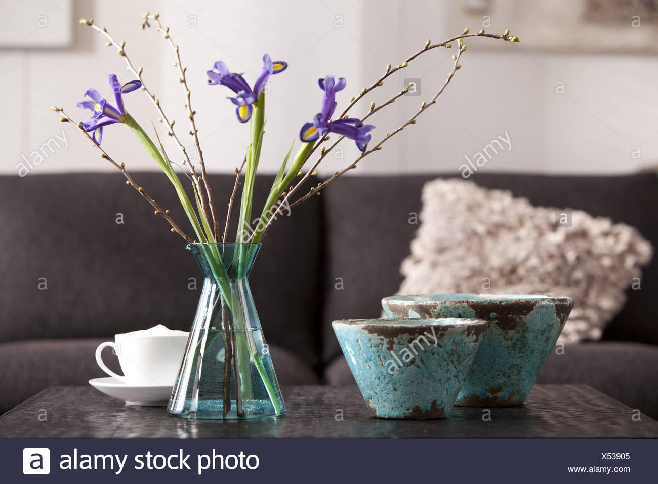 Interieur, Vase, Blumen, Becher, Schalen, Kissen, Stockbild