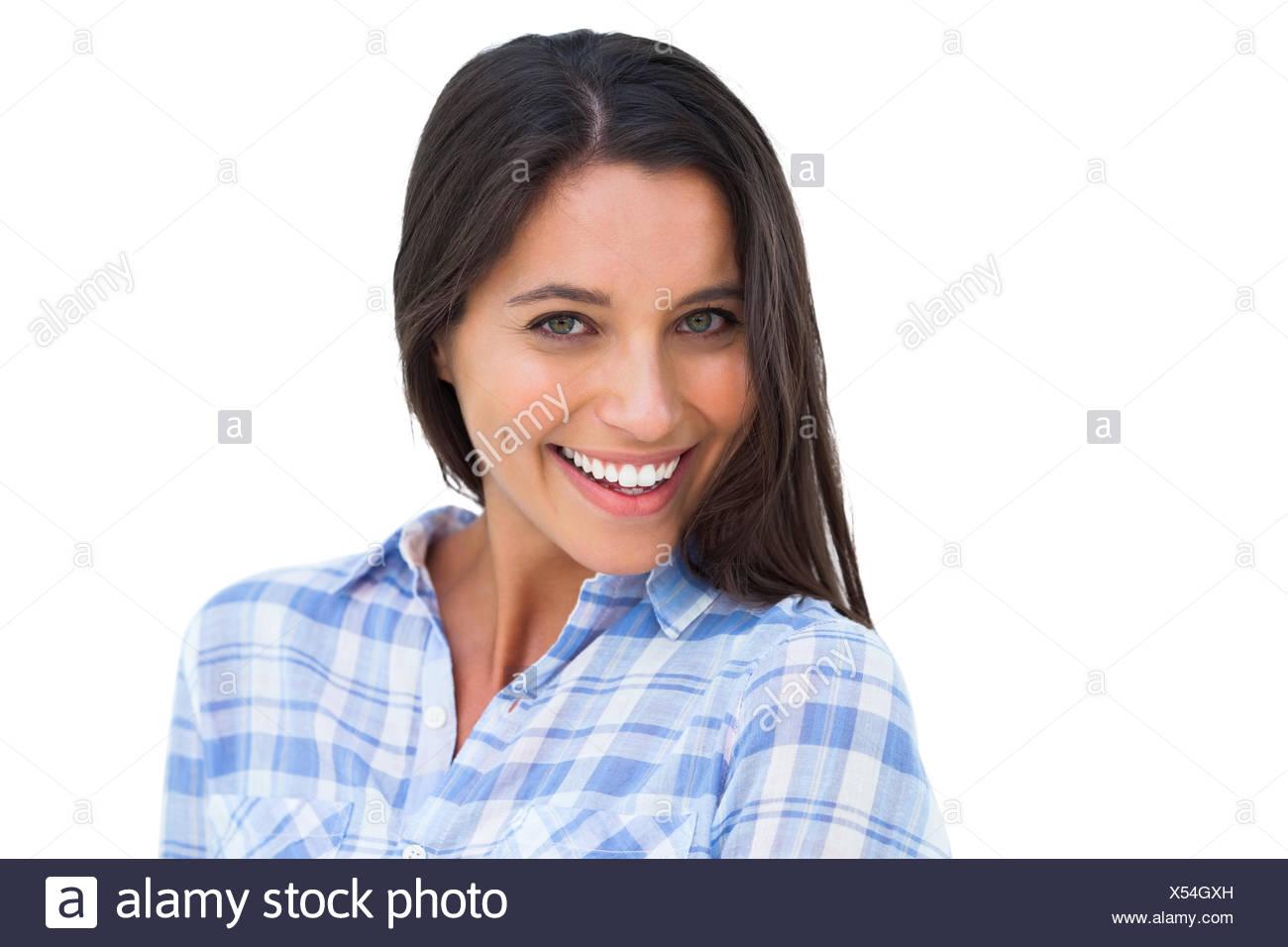 Junge Brünette lächelnd in die Kamera Stockbild