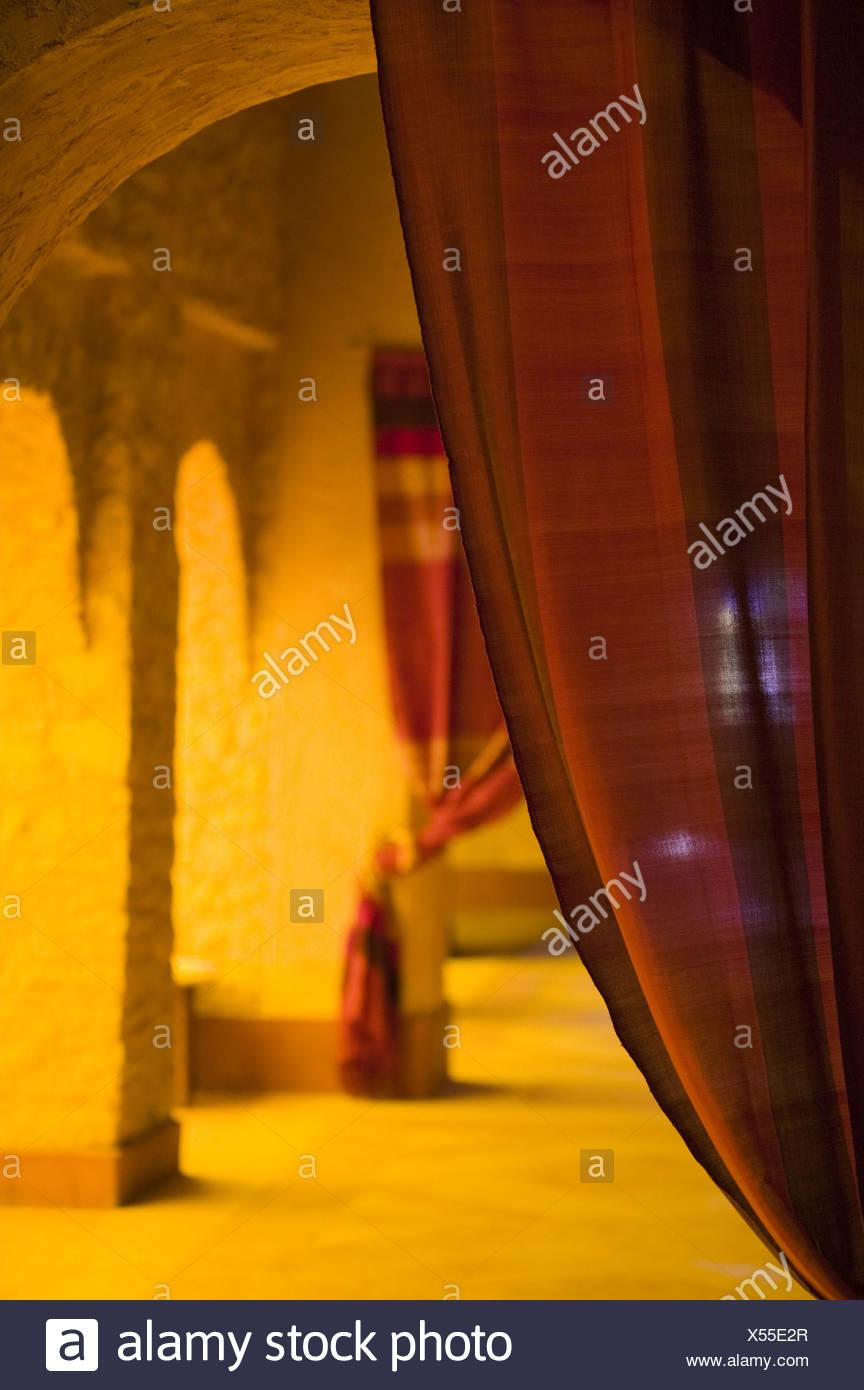 Marokko, Raum, Innen, Inneneinrichtung, traditionelle, Stoff, Vorhang, Detail, Stockbild