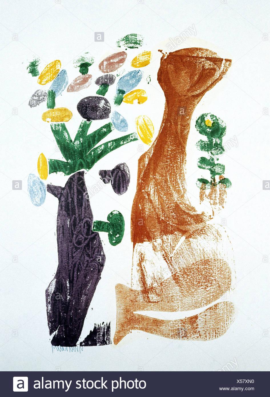 """Bildende Kunst, Grieshaber, HAP (1909 ? 1981), Holzschnitt, """"Frühling"""", des Künstlers Urheberrecht auch geräumt werden muss Stockbild"""