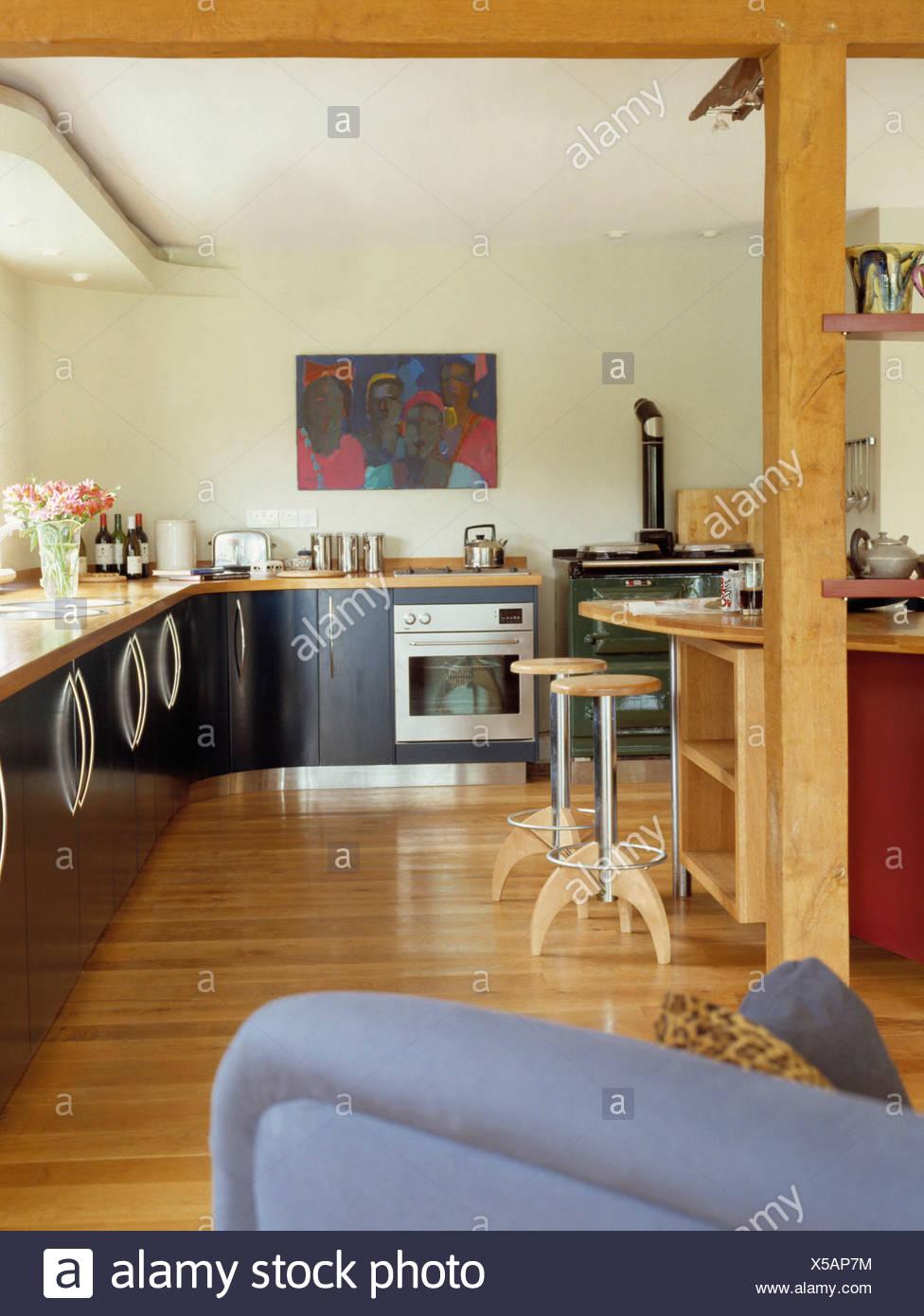 Interiors Modern Kitchens Black Stockfotos & Interiors Modern ...