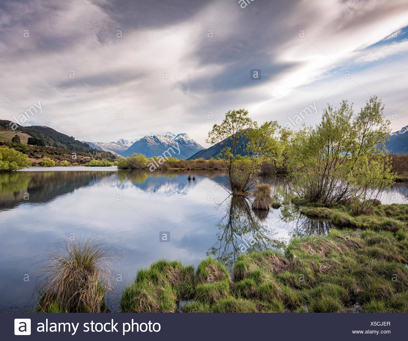 Glenorchy Lagune am hinteren Berge, Glenorchy, in Queenstown, Southland, Neuseeland Stockbild