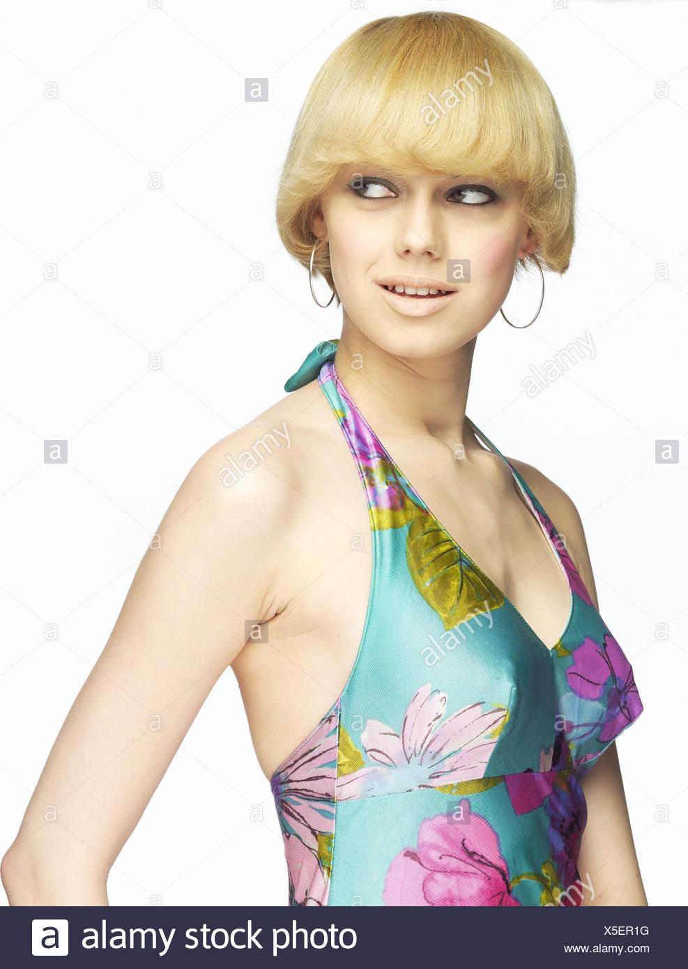 Frau Lächeln Jung Blond Seitenansicht Halbe Porträt