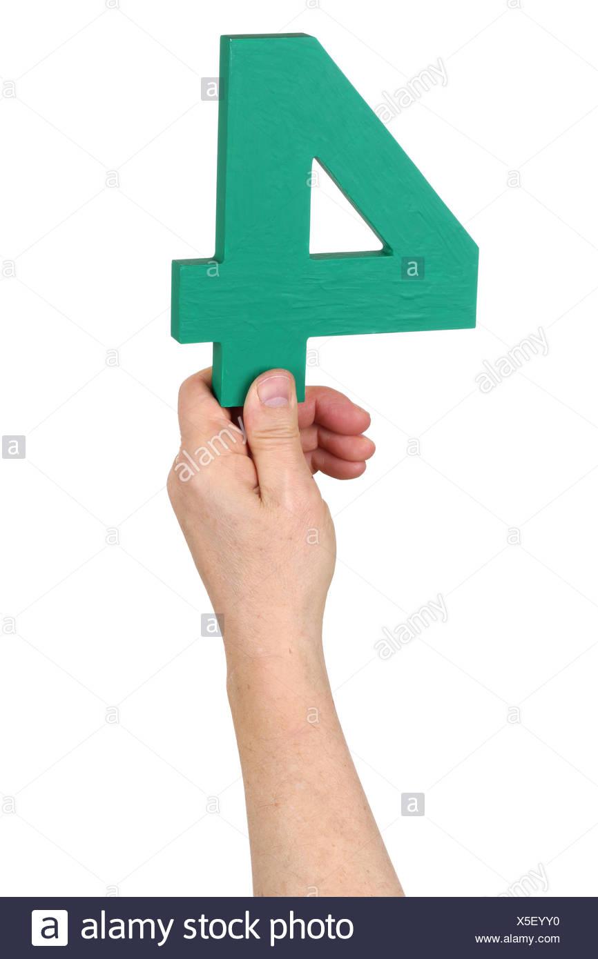 Hand halten Zahl 4 Stockbild