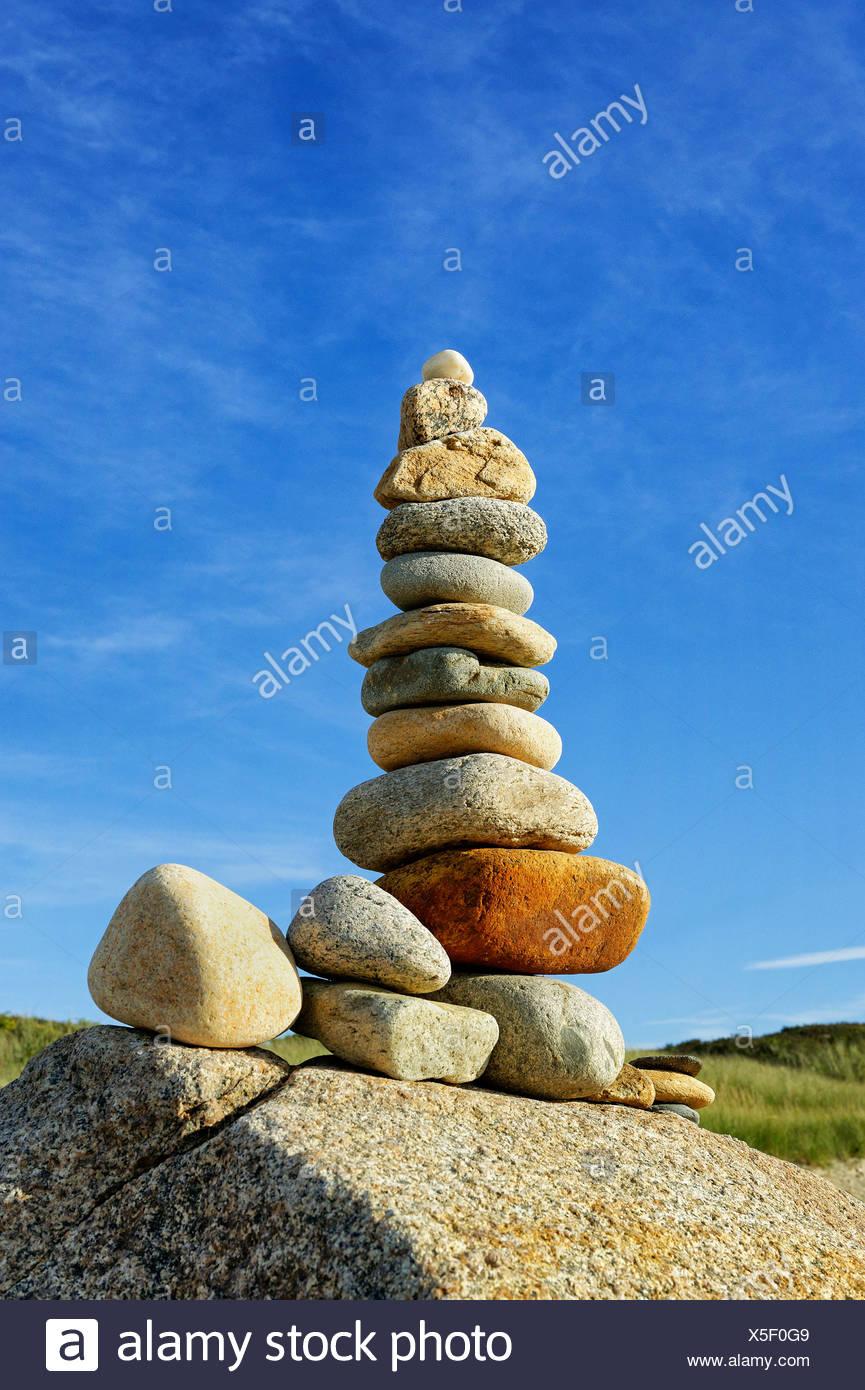 Rock Cairn, Gay Head, Aquinnah, Martha's Vineyard, Massachusetts, USA Stockbild